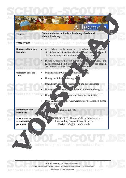 Die neue deutsche Rechtschreibung: Groß- und Kleinschreibung - School-Scout Unterrichtsmaterial Deutsch - Deutsch