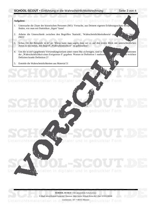 Arbeitsblatt: Einführung in die Wahrscheinlichkeitsrechnung - Veränderbare Arbeitsblätter Mathematik - Mathematik