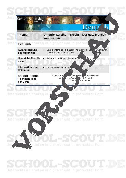 Unterrichtsreihe - Brecht - Der gute Mensch von Sezuan - School-Scout Unterrichtsmaterial Deutsch - Deutsch