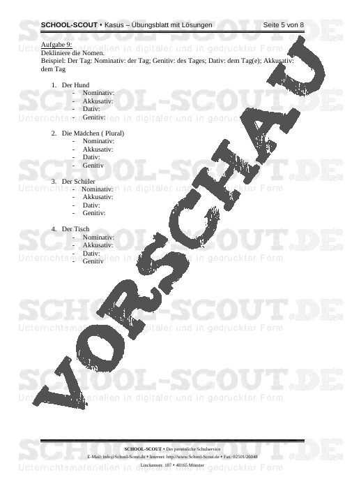 Kasus - Übungsblatt mit Lösungen - Veränderbare Arbeitsblätter Deutsch - Deutsch