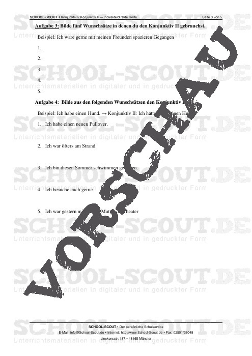 Konjunktiv I/ Konjunktiv II - indirekte/direkte Rede - Veränderbare Arbeitsblätter Deutsch - Deutsch