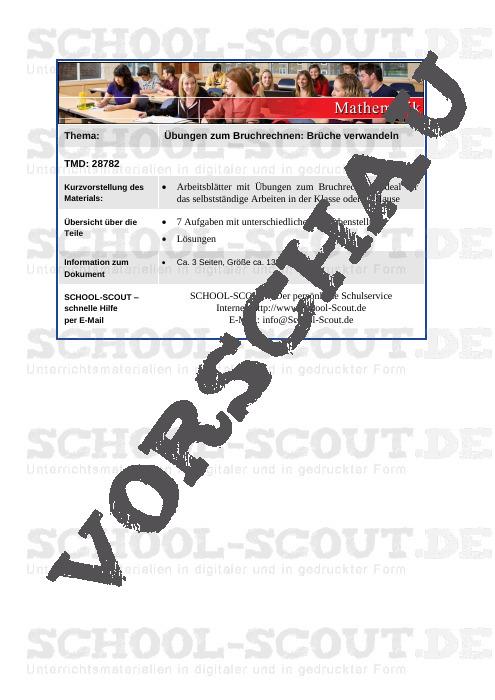 Übungen zum Bruchrechnen: Brüche verwandeln - School-Scout Unterrichtsmaterial Mathematik - Mathematik