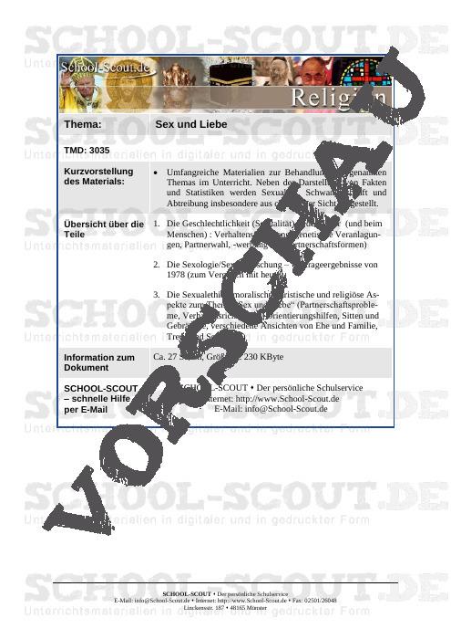 Sexualität und Liebe - Infotexte und Diskussionsfragen - School-Scout Unterrichtsmaterial Ethik - Ethik
