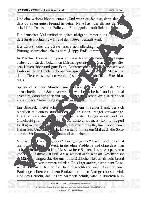 Es war einmal? Wir schreiben ein Märchen - School-Scout Unterrichtsmaterial Deutsch - Deutsch
