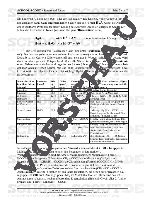 Säuren und Basen - School-Scout Unterrichtsmaterial Chemie - Chemie