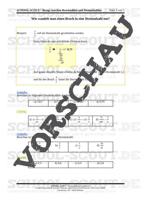 Bruchzahlen - Bezug zwischen Bruchzahlen und Dezimalzahlen - School-Scout Unterrichtsmaterial Mathematik - Mathematik