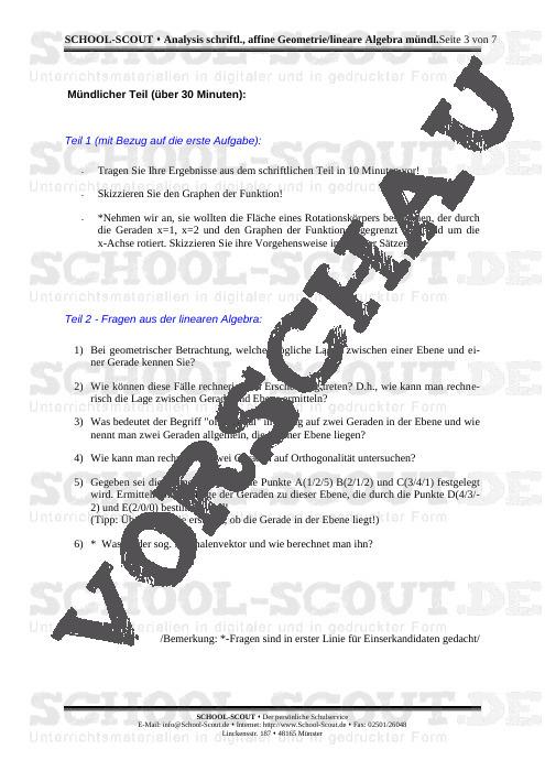 Simulation einer mündlichen Prüfung (Analysis schriftl., affine Geometrie / lineare Algebra mündl.) - School-Scout Unterrichtsmaterial Mathematik - Mathematik