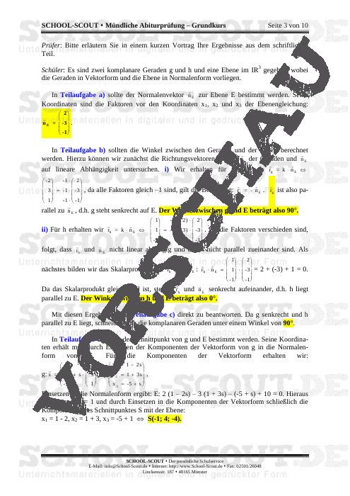 Mündliche Abiturprüfung - Grundkurs- Lineare Algebra und analytische Geometrie- Analysis - School-Scout Unterrichtsmaterial Mathematik - Mathematik