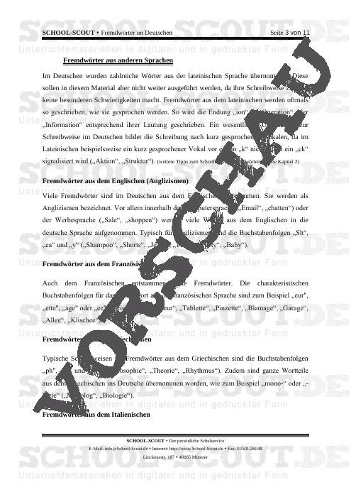 Rechtschreibung von Fremdwörtern - Übungen und Regeln - Schlüsselbegriffe der Rechtschreibung - Deutsch