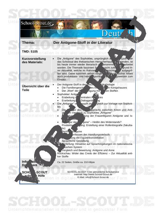 Unterrichtsreihe - Antigone - School-Scout Unterrichtsmaterial Deutsch - Deutsch