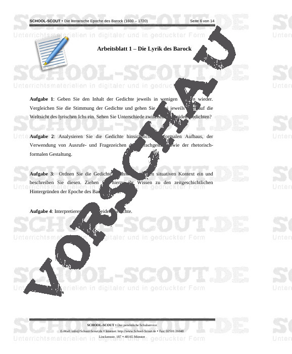 Die literarische Epoche des Barock (1600 - 1720) - School-Scout Unterrichtsmaterial Deutsch - Deutsch