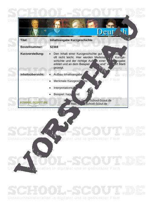 """Inhaltsangabe Kurzgeschichte (am Beispiel """"happy end"""" von Kurt Marti) - School-Scout Unterrichtsmaterial Deutsch - Deutsch"""
