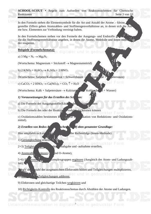 Regeln zum Aufstellen von Reaktionsschemen für Chemische Reaktionen - Veränderbare Arbeitsblätter Chemie - Chemie