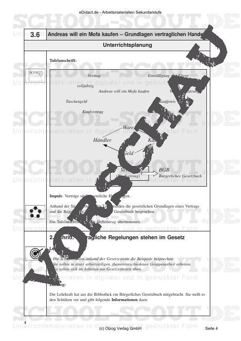 Andreas will ein Mofa kaufen - Grundlagen vertraglichen Handels - Verträge regeln Rechtsgeschäfte - Arbeitsmaterialien - AWT