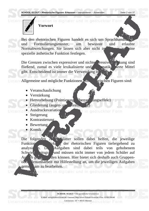 Rhetorische Figuren: Erkennen - Interpretieren - Anwenden - School-Scout Unterrichtsmaterial Deutsch - Deutsch