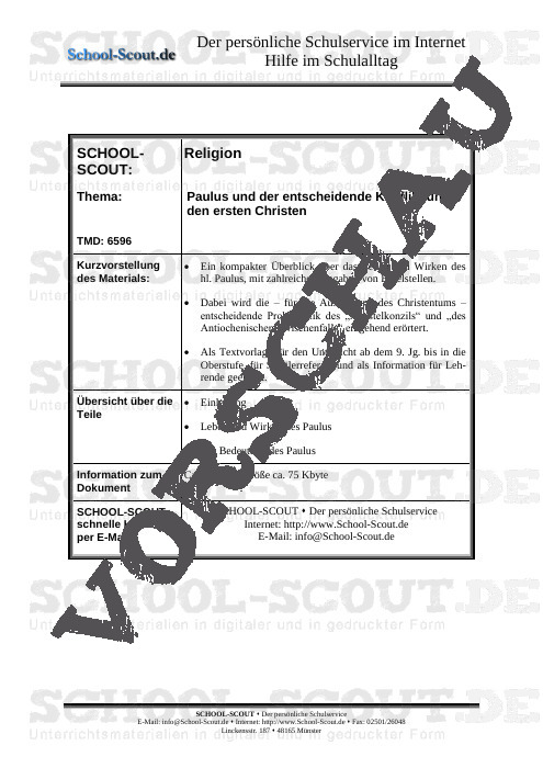 Paulus und der entscheidende Konflikt unter den ersten Christen - School-Scout Unterrichtsmaterial Religion - Religion