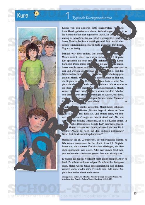 Klasse 8 kurzgeschichten inhaltsangaben für Kurzgeschichten für
