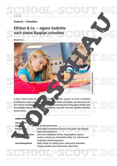 Elfchen & Co. – eigene Gedichte nach einem Bauplan schreiben - Deutsch - Schreiben - Grundschule - Deutsch