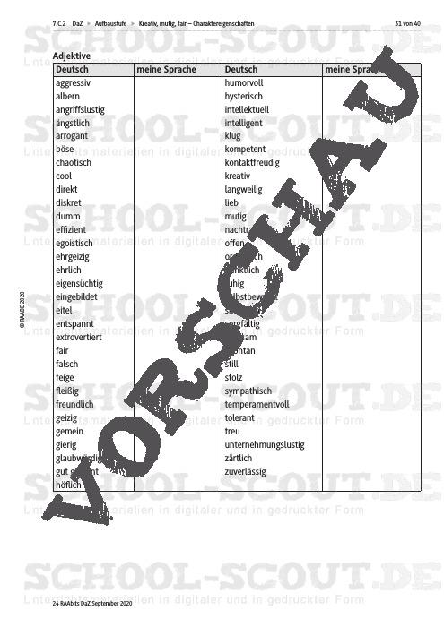 Liste adjektive charaktereigenschaften Personen beschreiben